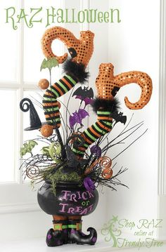 Cute display using the RAZ Witch Legs....get your pair on the Wish List at Trendy Tree....three styles from RAZ arriving Summer 2015!  #TrendyTree #witchlegs #RAZ
