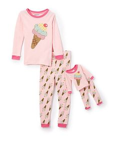 4c330a6bbf Elowel Pink Ice Cream Pajama Set   Doll Outfit - Toddler   Girls