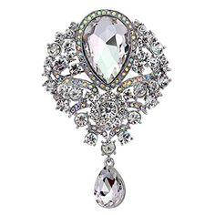 From 2.79 Bluelans Stunning Bright Flower Brooch Diamante Crystal Rhinestone Wedding Bridal Party Teardrop Pin Brooch (silver)