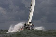 Laura Dekker at sea sailing Guppy