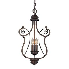 $136-149   Millennium Lighting 1153-RBZ 3 Light Chateau Foyer Light Rubbed Bronze - Lighting Universe