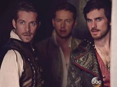 Robin Hood, Prince Charming, and Captain Hook - Once Upon a Time Emilie De Ravin, Outlaw Queen, Once Upon A Time, Maine, Sean Maguire, Ouat Cast, Colin O'donoghue, Captain Hook, Film Serie