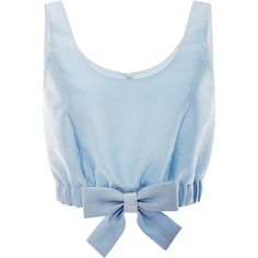 Honor Light Blue Mikado Ribbon Hem Cropped Top (€640) ❤ liked on Polyvore featuring tops, shirts, crop top, crop, bow top, blue silk shirt, light blue crop top, blue crop top and bow crop top