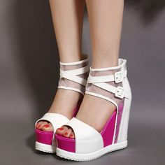 7f70c3cf18a Shoespie Mesh and Buckles Ankle Wrap Wedge Sandals  SandalsHeels Platform  High Heels