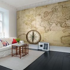 A lovely world map, on faded paper with worn edges, smudges and wrinkles. One of our world map wallpapers.