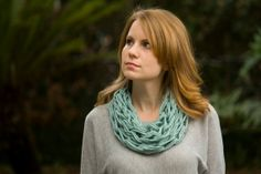 Mint Cowl Spring Knit Statement Necklace Sea Green by WellRavelled, $15.00