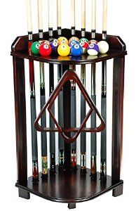 Amazon.com : Pool Cue Rack Only- Billiard Stick Stand Holds 8 Cues & Ball Set Choose Oak or Mahogany Finish (Mahogany) : Sports & Outdoors