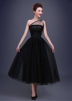 In Stock elegant dot tulle one-shoulder neckline A-line evening dress
