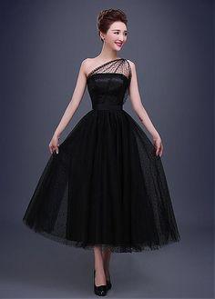 In Stock Elegant Dot Tulle One-Shoulder Neckline A-line Evening Dress