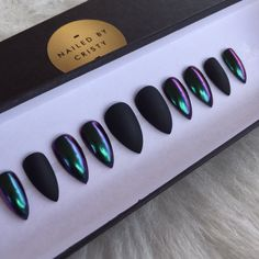Duo Chrome And Matte Black Press On Nails Any by NailedByCristy
