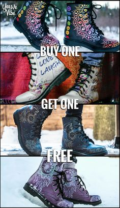 Give your feet the happy feel they deserve with these handmade Vegan Boots. Hundreds of amazing designs available! Order 1 Pair Get 1 FREE! - Limited Time Only Teen Fashion, Fashion Outfits, Womens Fashion, Cute Shoes, Me Too Shoes, Hippie Boots, Vegan Boots, Look Cool, Swagg