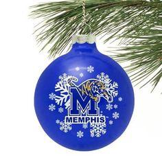 Memphis Tigers Royal Blue Snowflake Glass Ornament for ben