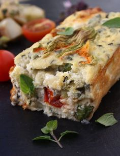 Savoury Cherry Tomato Clafoutis with Basil, Goat's Cheese and CourgetteBlossom