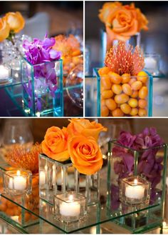 """Table arrangement I bet a lot of this could be found at the dollar store. Love the idea of using fruit or other items as """"filler"""""""