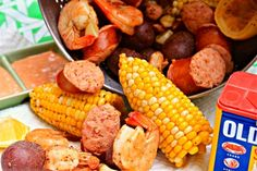 A spicy, finger-licking shrimp boil has the makings of a bib-requisite backyard bash. [Photograph: Jennifer Olvera] Note: Timing is everything when it comes to a seafood boil, but the time ingredients will take depend largely on factors like potato size...