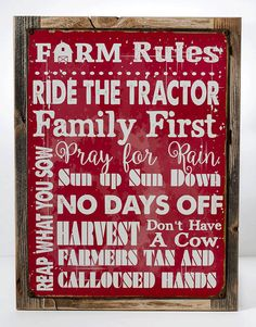 Framed Farm Rules Metal Sign Humor Rustic Decor by HomeBodyAccents