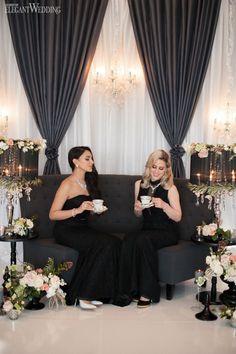 Draping, chandeliers and tea for a wedding! GLAMOROUS TEA PARTY WEDDING THEME www.elegantwedding.ca