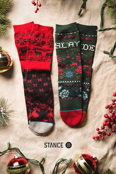 Add some good old fashion Christmas cheer to your look with socks by Stance. Made from our best combed cotton, these socks are built to last well beyond the Holidays. Now go forth, and slay the season.