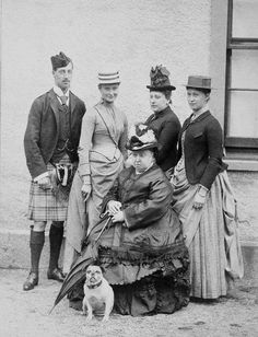 Queen Victoria with Prince Albert Victor, Duke of Clarence; Princess Alix of Hesse and by Rhine; Princess Henry of Battenberg; Princess Irene of Hesse and by Rhine. 1887