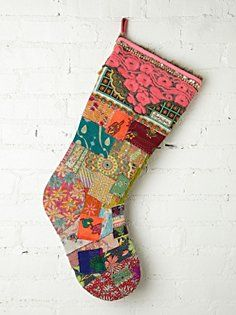 Free People FP One Big Vintage Quilted Holiday Stocking.I want this pattern.or stocking! Bohemian Christmas, Beautiful Christmas, Vintage Christmas, Christmas Holidays, Christmas Crafts, Christmas Decorations, Christmas Ornaments, Happy Holidays, Christmas Sewing