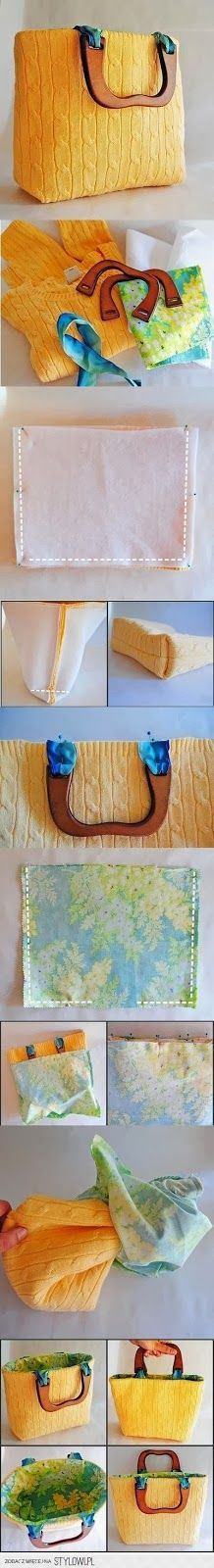 Cute purse out of an old sweater! DIY, Cute purse out of an old sweater! DIY, is creative inspiration for us. Get more photo about home decor related with by looking at photos gallery at the bottom of. Fabric Crafts, Sewing Crafts, Sewing Projects, Craft Projects, Diy Crafts, Sewing Diy, Sewing Ideas, Alter Pullover, Diy Sac