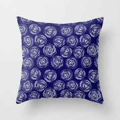 Buy 'Doodle Roses' Navy Blue and White throw pillows by Notsundoku | Society6. A repeat pattern of hand drawn doodle roses. #repeatpattern #patterns #roses #doodles #doodleart #flowers #handdrawn #Notsundoku #Society6 #throwpillows #cushions #livingspace #homedecor #pillows