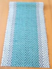 Hand woven turquoise- table runner (cotton/video cassette tape).