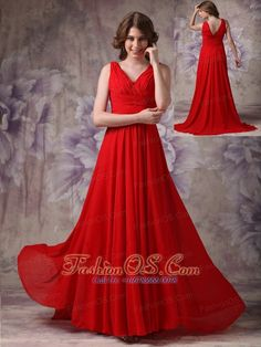 Exclusive Red Empire V-neck Evening Dress Chiffon Ruch and Beading Brush Train- $117.26  www.fashionos.com  evening dress with beading | red evening dress | evening dress with brush train | chiffon evening dress | evening dress online shop | ruched evening dress | zipper up closure evening dress | v neck evening dress | evening dress under 150 |