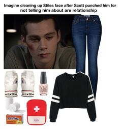 """""""Imagine cleaning up Stiles face after Scott punched him for not telling him about are relationship!"""" by be-robinson ❤ liked on Polyvore featuring 2LUV, Converse and OPI"""