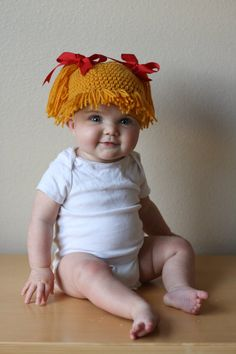 cabbage patch hat | Crochet Cabbage Patch Style Wig-Hat (Multiple Sizes)