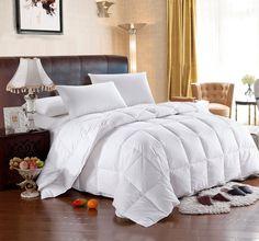 Full Queen Stripe Down Comforter Cotton 300 Thread Count Four Seasons in Home & Garden, Bedding, Comforters & Sets