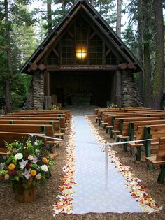 Beautiful open air chapel in Tahoe Chapel Wedding, Wedding Venues, Wedding Ideas, Wedding Ceremony, Wedding Planning, Wedding Decorations, Wedding Inspiration, My Perfect Wedding, On Your Wedding Day