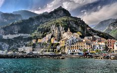 Download wallpapers Amalfi, pier, sea, coast, summer, HDR, Italy, Europe