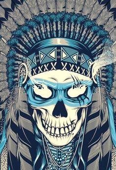 skull headdress native american indian illustration - would make an awesome tat Tatoo Crane, Tatoo Art, Indian Skull, Psy Art, Desenho Tattoo, Skull Design, Skull Tattoos, Skull And Bones, Art And Illustration