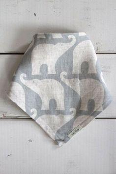 Blue Elephant Kerchief Bib, Reversible - Linen & Cotton Flanel