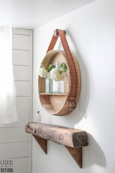 How+To+Turn+A+Cheese+Box+Into+A+Beautiful+Shelf Wood stain, scrap plywood for shelf, wood glue, belt, glue, peg to hang.