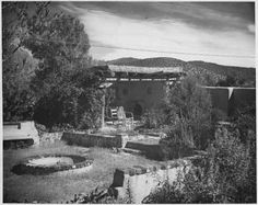 Gardens at artist Gerald Cassidy's house on Canyon Road, Santa Fe, New Mexico, ca. 1936-39. Photo by WPA Photographic Department. Palace of the Governors Photo Archives 051938.