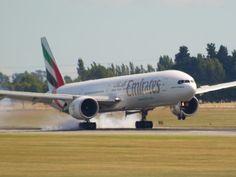 Emirates 777 landing in Christchurch  Type: Boeing 777-36NER  Registration: A6-ECM  Location: Christchurch International Airport  Date: 06/02/2011