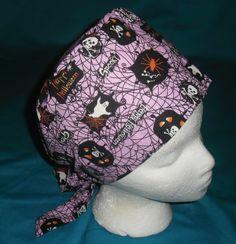 Ladies Halloween Scrubs Pixie Tie Back Scrub Cap Hat Nurses Surgical Caps SPOOKY