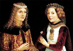 Magdalena of Valois, Princessse de Viana (1443-1495), daughter of Charles VII of France and Marie of Anjou, shown here with her fiance Ladislaus the Posthumous who died before they were married,1457 by unknown Austrian artist