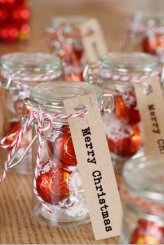 Mini clip-top jars filled with foil-wrapped chocs make a fab gift or party favour.