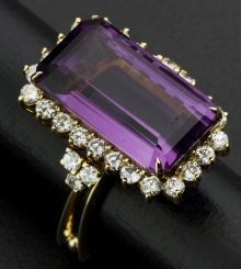 Facetted Amethyst & Diamond 18k Gold Ring