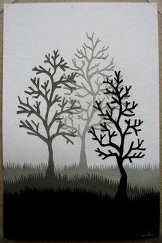Winter Trees Papercut by samaki