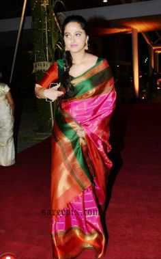 "Anushka in green and pink Kanjeevaram silk saree at PVP daughter half saree function. The ""Size Zero"" actress lost her weight and looked stunning in silk s"