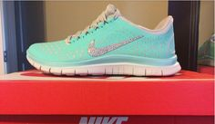 Swarovski Crystal Shoes 2015 Tiffany Blue Silver Bling Nike Free 3.0 V4 Womens Swarovski