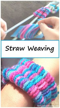 Such a clever pre-k or kindergarten fine-motor art project and craft! Straw Weaving -- weaving craft - DIY jewelry for kids - Mother's Day gift idea tutorial