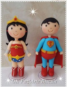 Superman and Wonder Woman Cake toppers