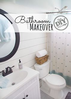Small bathroom makeover - guest bathroom update with planked wall, penny tile, new vanity, and toilet Bathroom Makeovers On A Budget, Budget Bathroom, Diy On A Budget, Bathroom Ideas, Redo Bathroom, Relaxing Bathroom, Bathroom Small, Family Bathroom, Bathroom Inspo
