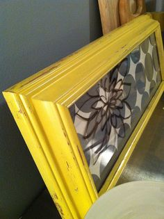 Yellow and Gray Dry Erase board Grey Shabby by RecycledLoveLetters, $35.00