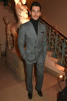 David Gandy demonstrates some seriously strong rollneck action at the LCM Opening Party.
